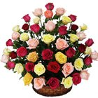 Silky-Smooth Mix Coloured Roses Collection in Basket to Lake town