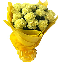 Now deliver this attractive Bunch of Yellow Carnations in a tissue wrapping to Birati