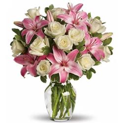 Striking Glass Vase display of White Roses N Pink Lilies  to Behala