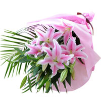 Bright Hand Bunch of Pink Lilies  to Siliguri