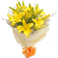 Exotic Bunch of Yellow Lilies  to Madhyamgram