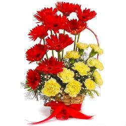 Stunning Basket of Red Gerberas with Yellow Carnations to Puruliya