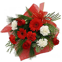 Blossoming Red Gerberas, Red Roses with Red N White Carnations Bunch to Cooch behar