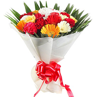 Color-Coordinated Hand Bunch of Gerberas and Carnations along with Roses to Maldah