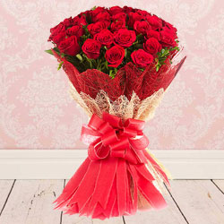 Fresh Bunch of Red Color Roses  to Dumdum