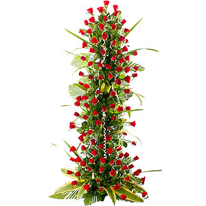 Silky-Smooth Always and Forever 100 Red Roses Arrangement 3 - 4 ft High
