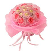 Silky Ferrero Rochers Passionate Love with Long Lasting Artificial Soft Pink Roses