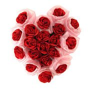 Cherished 19 Long Standing Red Roses in Shape of a Blissful Heart