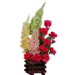 Exotic Collection of Artificial Pink Carnations with Colourful Long Flower Stems arranged in a Basket