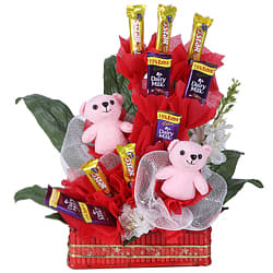 Tempting Arrangement of Teddies along with Cadbury Chocolates in a Basket
