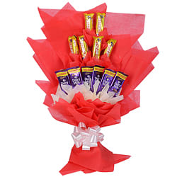 Mouth Watering Hand Bouquet of 6 Cadbury Five Star and 6 Cadbury Dairy Milk Chocolates