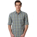 Refreshing Blue Checkered Peter England Shirt