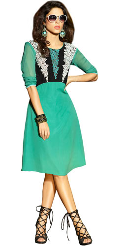 Marvelous Turquoise Green Coloured Georgette Embroidered Kurti