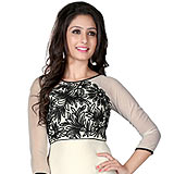 Elegant Georgette Embroidered Kurti in White and Black
