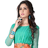 Wonderful Georgette Embroidered Kurti Shaded in Turquoise