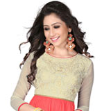 Enticing Beige and Pink Coloured Georgette Embroidered Kurti