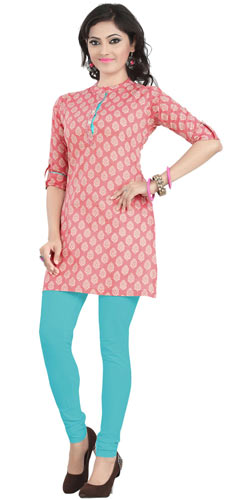 Astonishing Cambric Cotton Printed Kurti in Pink