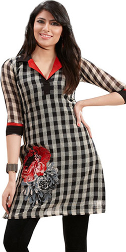 Raffish Confidence Linen Checks Kurti