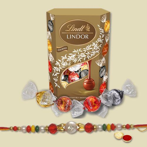 Remarkable Combo of 1 Fancy Rakhi with Lindt Lindor Chocolate Pack
