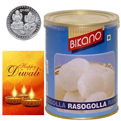 Appetizing Bikano Rasgulla With Silver Plated Coin And Diwali Card