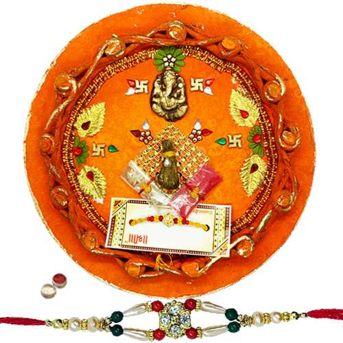 Nice Looking Rakhi With Rakhi Thali