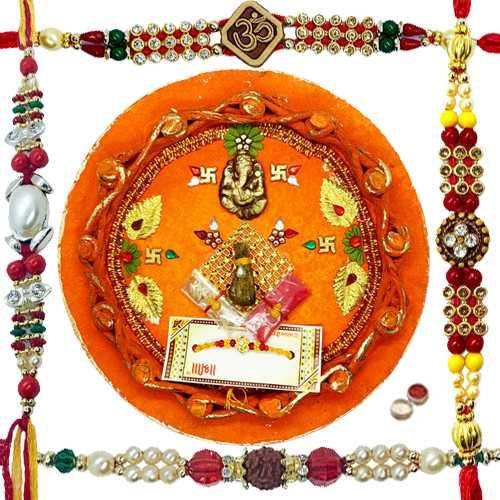 Stunning 4 Rakhi With Rakhi Thali.