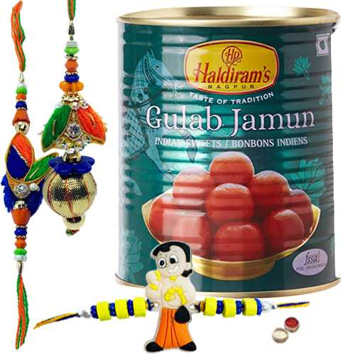 Gorgeous Bhiya Bhabhi Rakhi Set With Angry Bird Kid Rakhi And Gulab Jamun From Haldiram.