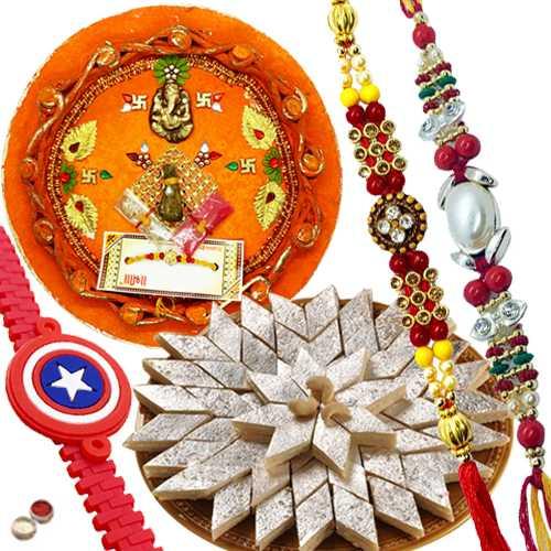Majestic Combo Of Magnificent Rakhi With Ben10 Kid Rakhi And Appetizing Kaju Katli