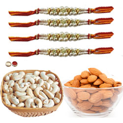 Fascinating Combo of 4 Rakhi With Almonds , Cashews