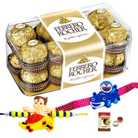 Free 2 Rakhi, Roli Tilak and Chawal with Delicious Ferrero Rocher