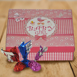 Divine Baby Girl Homemade Chocolate Box with Hint of Heavenly Taste