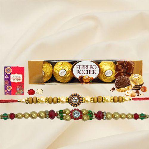 4 pcs Ferrero Rocher Chocolate Pack with 2 Rakhis and Roli Tilak Chawal