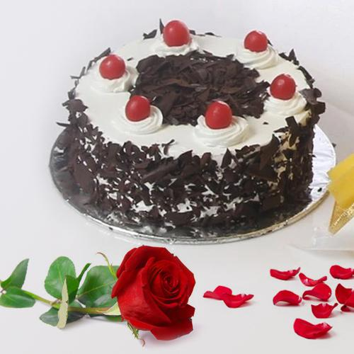Gift Online Black Forest Cake with Red Rose