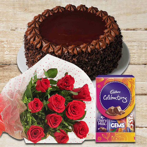 Order Online Red Roses Bouquet with Cake N Cadbury Pack