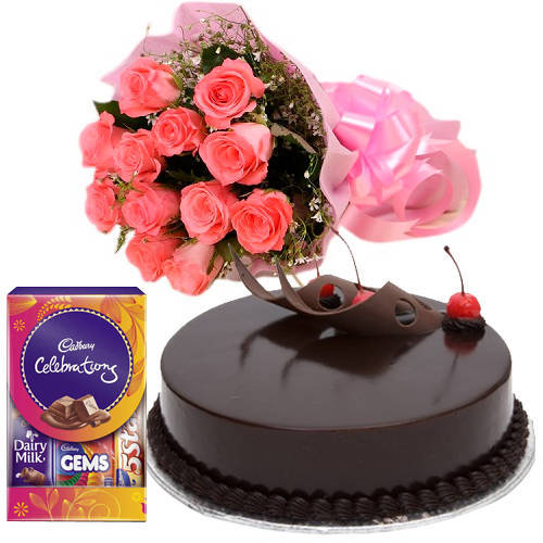 Send Pink Roses Bouquet with Cake N Cadbury Pack Online