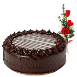 Order Red Roses N Chocolate Cake Online