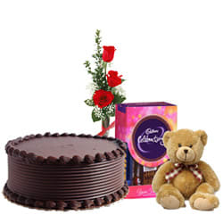Deliver Chocolate Cake with Cadbury Pack, Teddy N Red Roses
