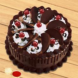 Cheering Choice Chocolate Cake with free Roli Tilak and Chawal