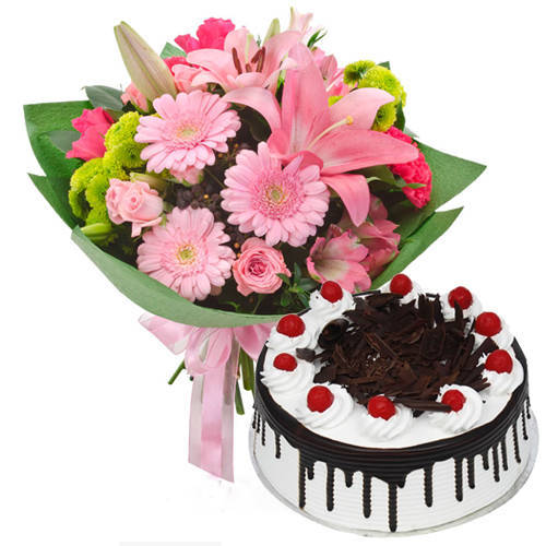 Buy Online Mixed Flowers Bunch with Black Forest Cake