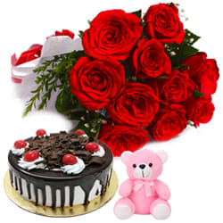 Shop Black Forest Cake with Red Roses Bunch N Teddy Online