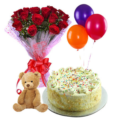 Send Combo Gift Of Red Roses Bunch with Vanilla Cake, Teddy N Balloons Online