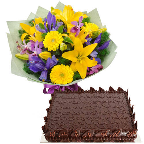 Online Order Chocolate Cake with Mixed Flowers Bunch