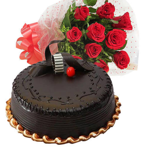 Order Red Roses Bunch with Chocolate Truffle Cake Online