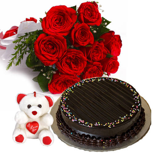 Book Red Roses Bunch with Chocolate Truffle Cake N Teddy Online