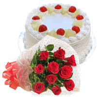 Tender Red Roses Hand Bunch with Pineapple Cake