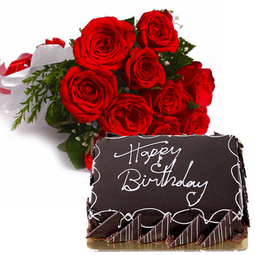 Order Online Red Roses Bouquet with Eggless Chocolate Cake