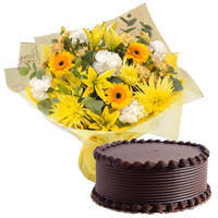 Glorious Mixed Flowers Bunch with Eggless Chocos Cake