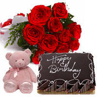 Marvelous Red Rose Hand Bunch with Eggless Chocolaty Cake & Small Teddy