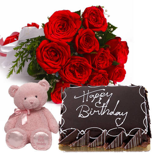 Book Online Red Roses Bunch with Eggless Chocolate Cake N Teddy