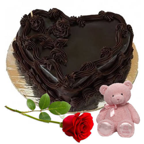 Send Combo of Heart-Shape Chocolate Cake with Teddy N Single Rose Online